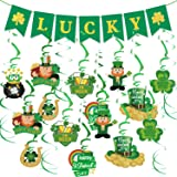 St Patricks Day Decorations,St Patricks Day Garland,Irish Lucky Four Leaf Clover Shamrock Burlap St Patricks Day Banner Flags