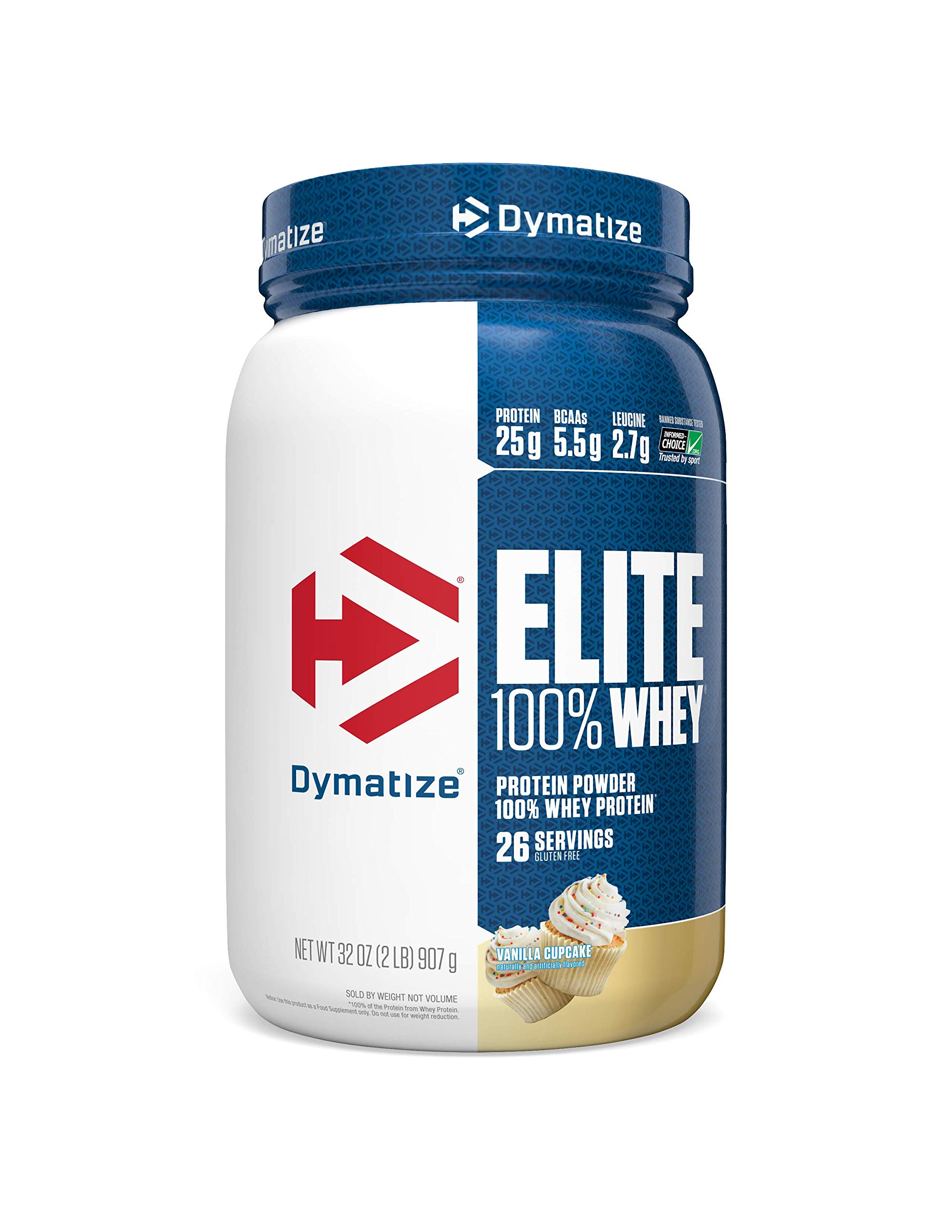 Dymatize Elite 100% Whey Protein Powder, Take Pre Workout or Post Workout, Quick Absorbing & Fast Digesting, Vanilla Cupcake, 2 Pound by Dymatize