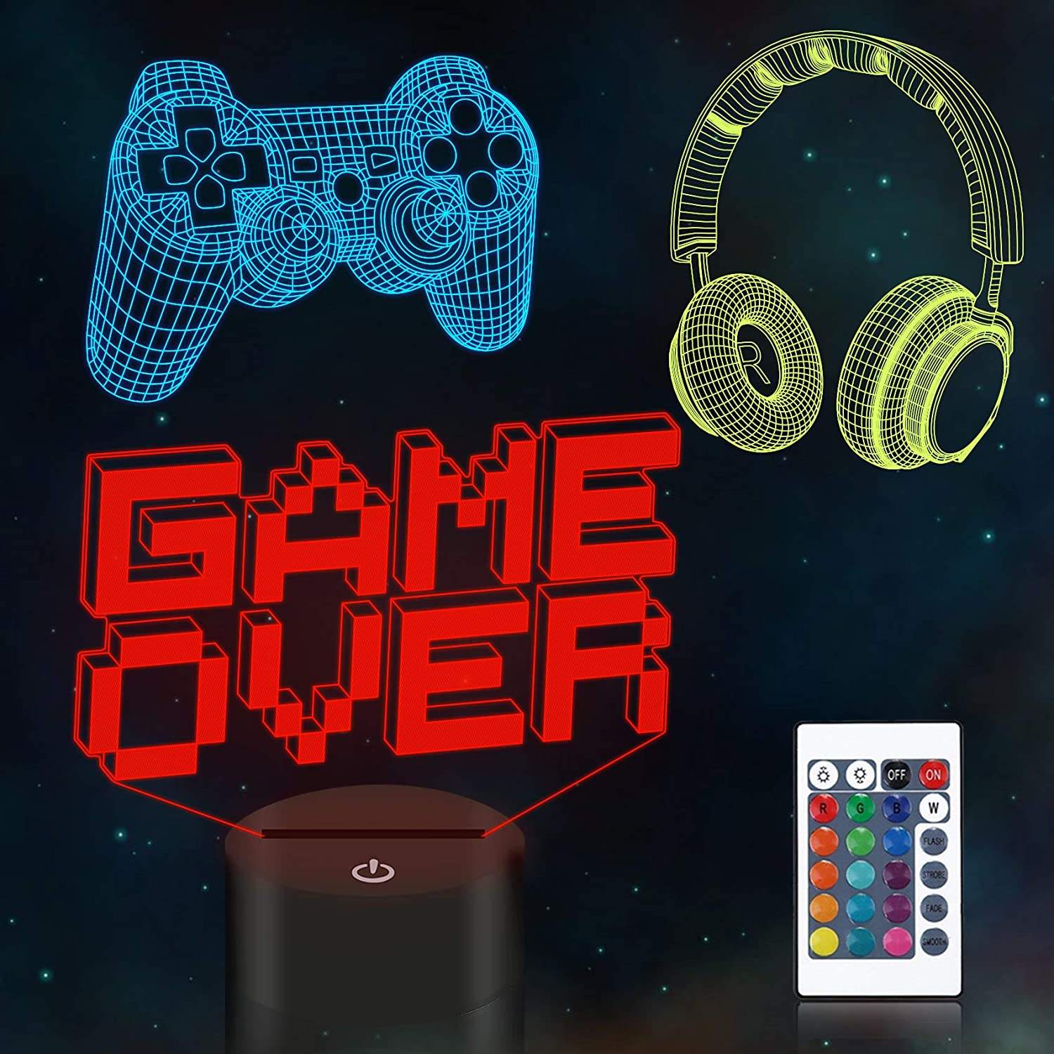 Gamepad 3D Night Light CooPark Pixel Game Over Illusion Lamp 3 Patterns with Remote Control 16 Color Changing Gaming Room Decor Best Christmas Birthday Gifts for Kids Boys Child