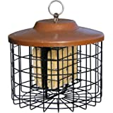 Stokes Select Squirrel Proof Bird Feeder, Caged Bird Feeder, 2 Suet Cake Capacity, Metal Roof, 10 Inch Diameter