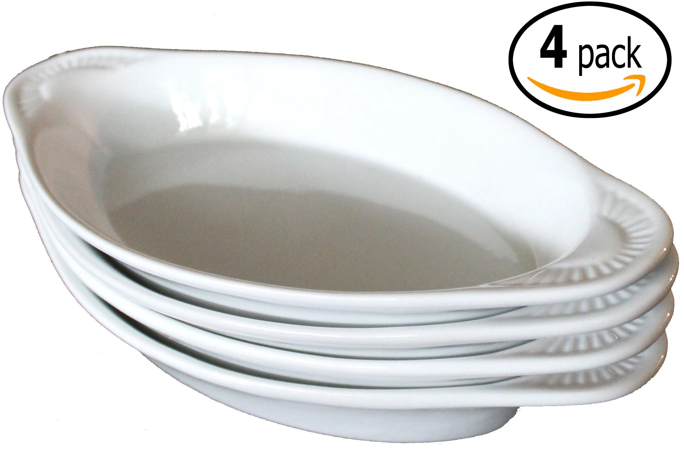 CAC Ceramic Oval Rarebit / Au Gratin Baking Dish with Pan Scraper, Set of 4 (12 Ounce, Pure White)