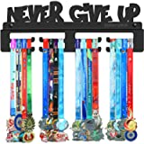 BORNTOWIN Never Give Up Medals Holder Display Hanger Rack Frame,Black Sturdy Steel Metal,Easy to Install Wall Mounted…