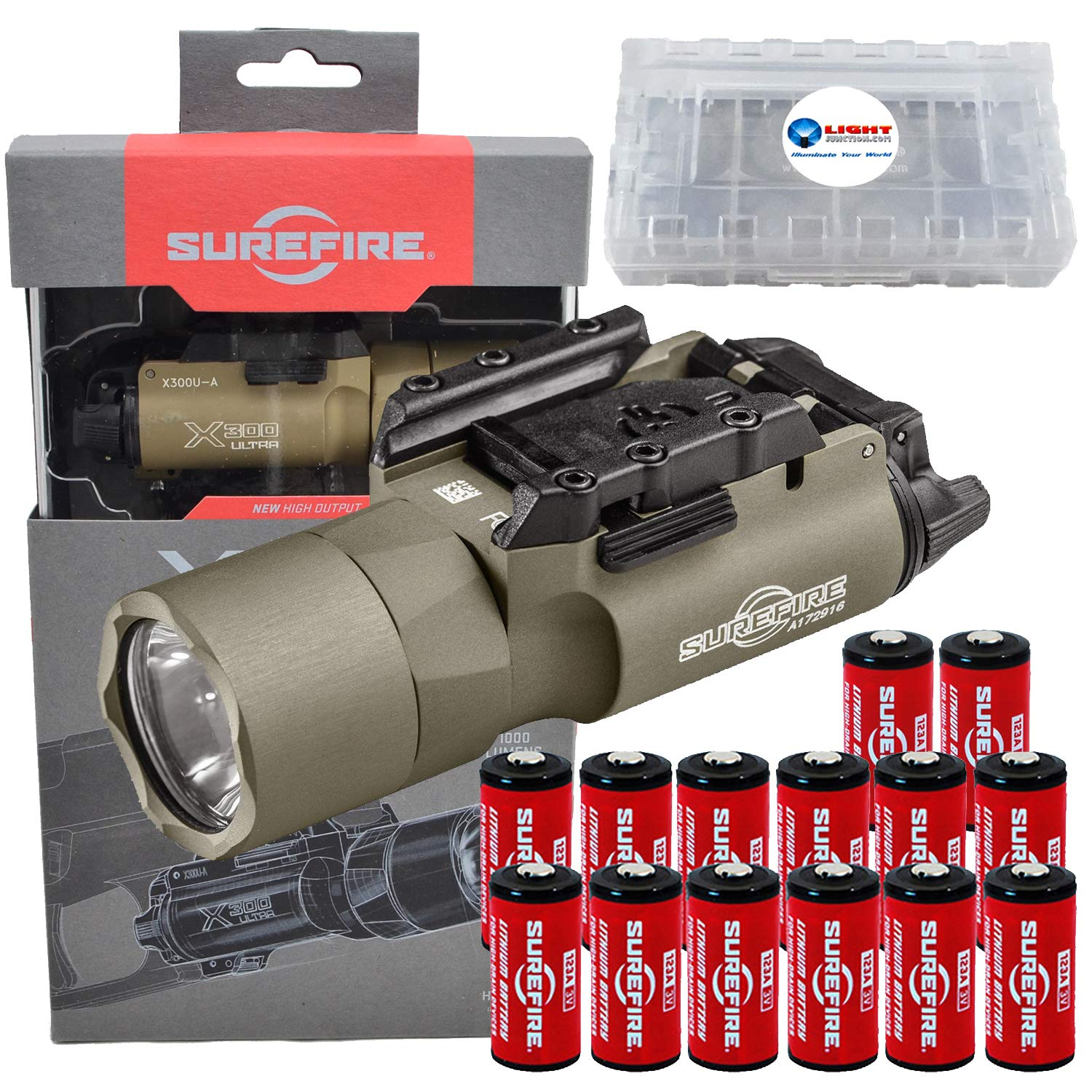 SureFire X300 Ultra High Output 1000 Lumens LED WeaponLight Tan (X300U-A) with 12 Extra CR123A Batteries and 3 Lightjunction Battery Cases by SureFire