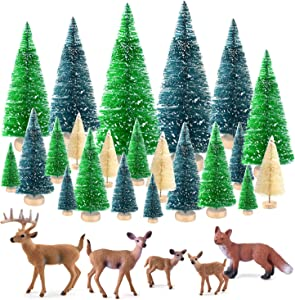 KUUQA 25 Pcs Mini Sisal Trees Bottle Brush Trees Snow Frost Trees with Miniature Figures Woodland Animals Deer Fox Table Top Crafts DIY Room Decor Mini Christmas Village Decoration