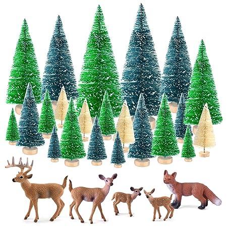 KUUQA 25 Piezas Mini árboles de sisal Cepillo de Botella Árboles Árboles de Escarcha de Nieve con Figuras en Miniatura Animales del Bosque Ciervos ...