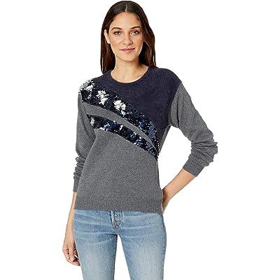 1.STATE Crew Neck Eyelash Sweater w/Sequin Detail Medium Heather Grey SM at Women's Clothing store