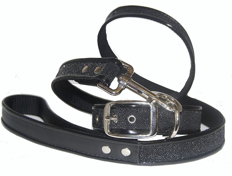 Jodi Head's RJ Cash Petwear Glam Sparkle Dog Collar and Leash, Large, Black