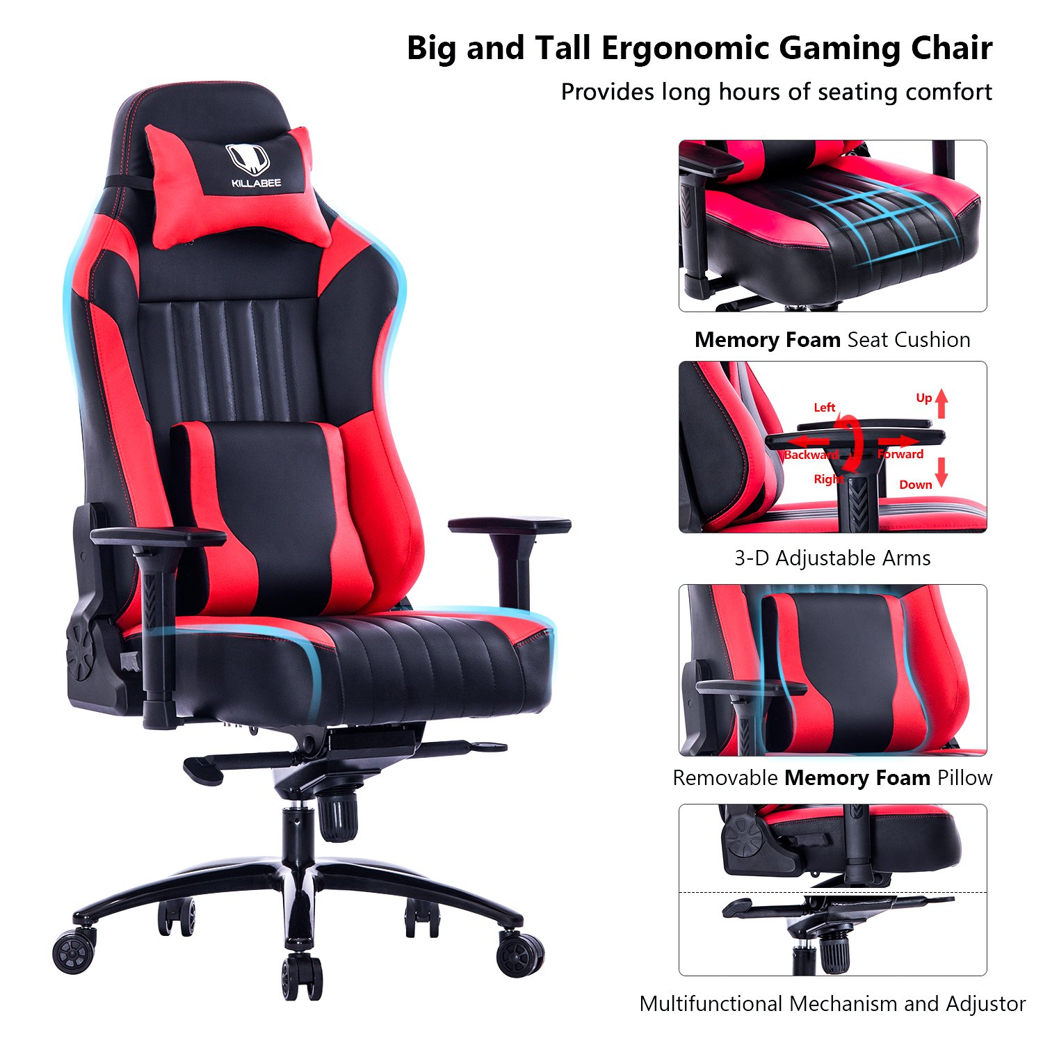 Admirable Killabee Big And Tall 400Lb Memory Foam Gaming Chair Andrewgaddart Wooden Chair Designs For Living Room Andrewgaddartcom