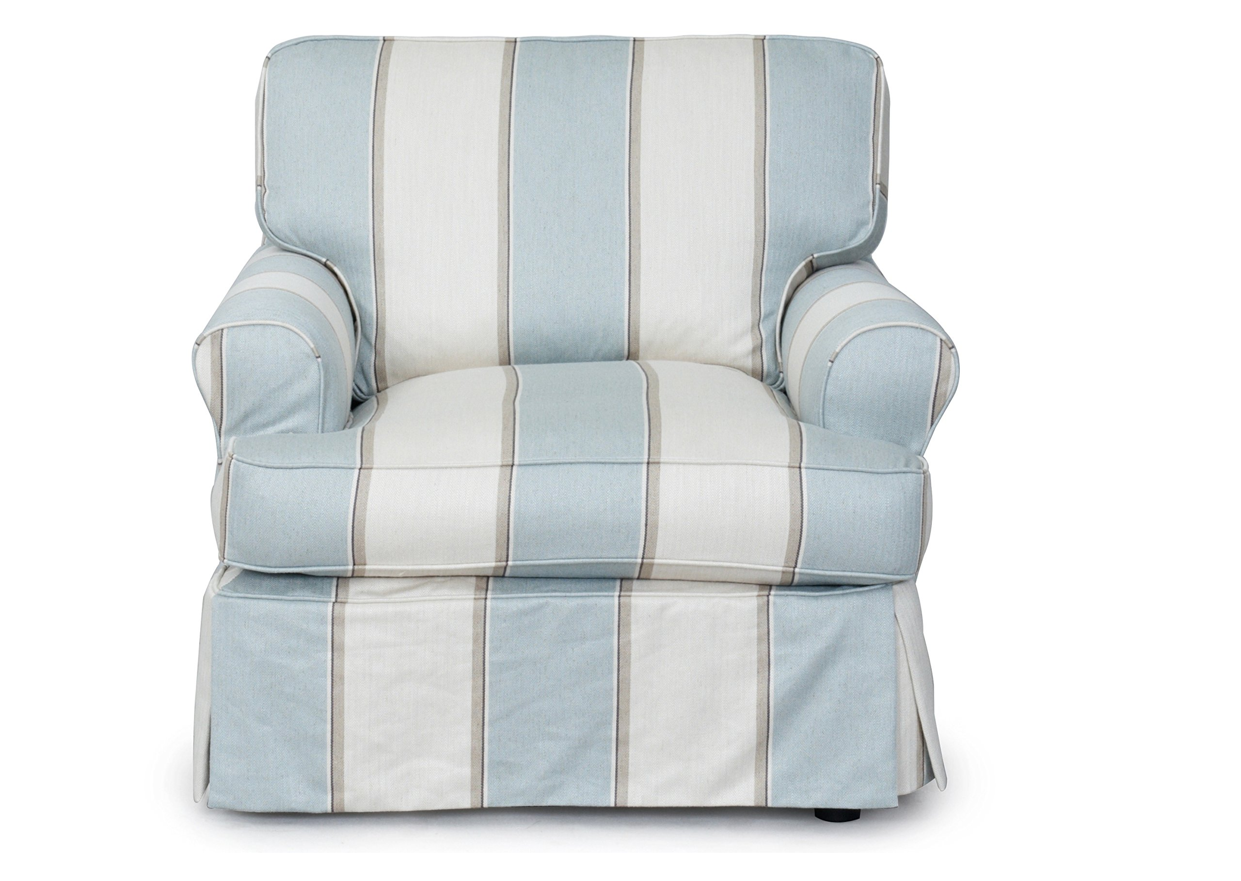 Sunset Trading Horizon Slipcovered Chair, Blue and Off White by Sunset Trading