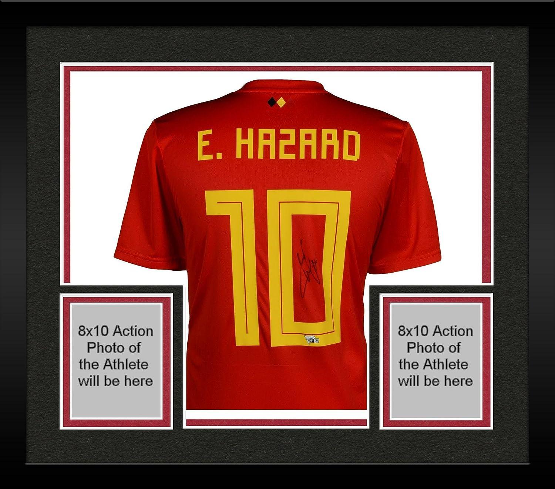 new style 26026 59ecf Framed Eden Hazard Belgium Autographed 2018 Red Home Jersey ...