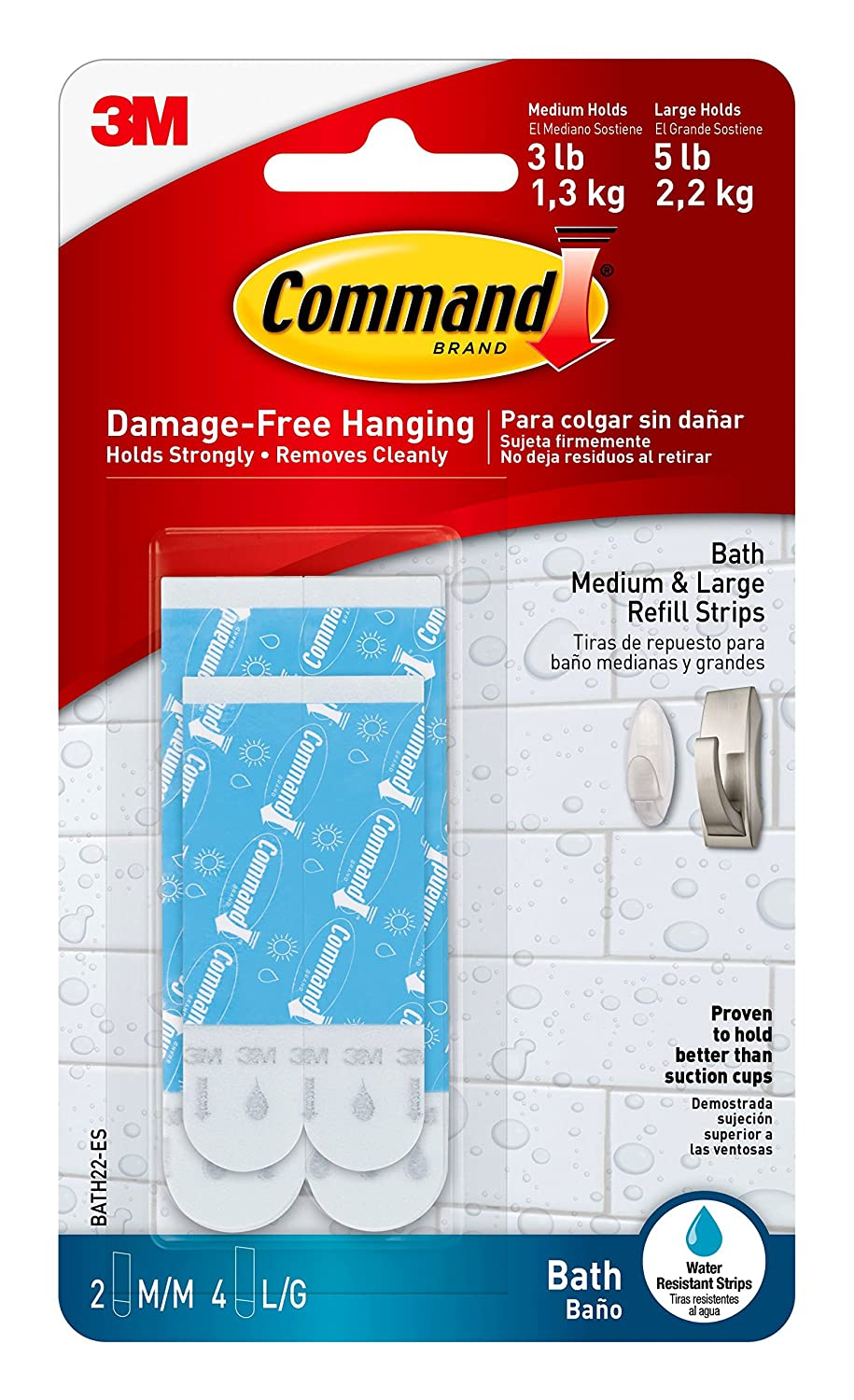 Command 2 Bath Water Resistant Refill 2 Medium and 4 Large Strips BATH22 ES E 1 Pack Blue
