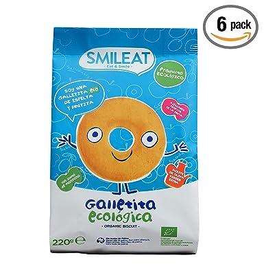 Smileat - Galletas Ecológicas De Espelta Y Manzana Con Aceite De Oliva Virgen Extra, pack