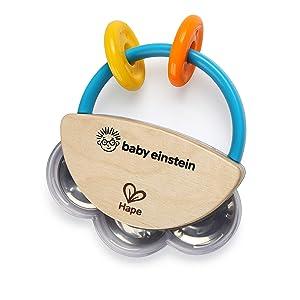 Baby Einstein Tiny Tambourine Wooden Musical Toy, Ages 3 months +