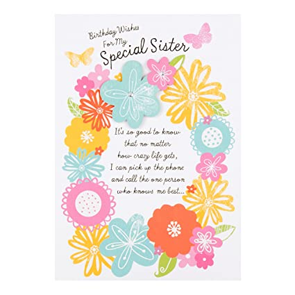 Buon Compleanno Mamma Inglese.Hallmark Biglietto Di Buon Compleanno Per Sorella Con Scritta In