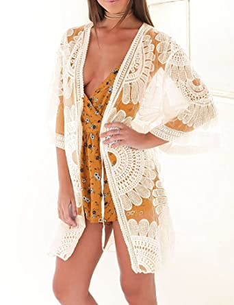 2c1b8ddd96 Women Lace Hollow Out Kimono Cardigan Beach Cover up