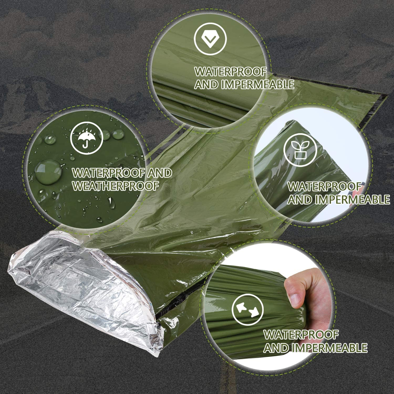 Mezonn Emergency Sleeping Bag /& Tent Shelter Survival Bivy Sack Use as Emergency Blanket Lightweight Survival Gear for Outdoor Hiking Camping Keep Warm After Earthquakes Hurricanes and Other disaster
