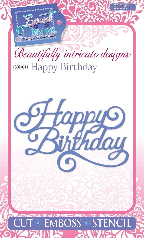 Grau 23.2 x 12.8 x 0.8 cm Sweet Dixie Happy Birthday Stanze Metall