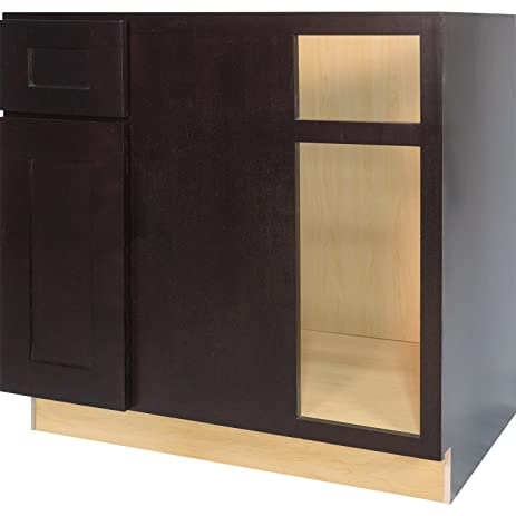 Everyday Cabinets 42 Inch Blind Corner Base Cabinet (Left) In Shaker  Espresso With 1