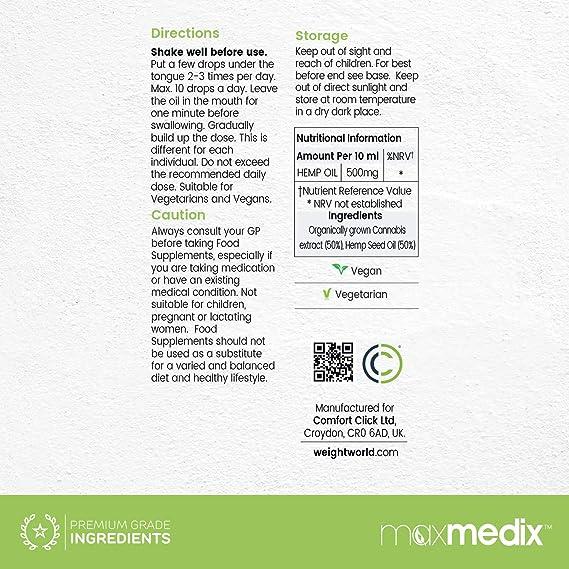 Hemp Oil - Aceite De Cáñamo Orgánico Altamente Concentrado - Suplemento Para El Bienestar - Reduce El Estrés, El Dolor y La Ansiedad - 10ml: Amazon.es: ...