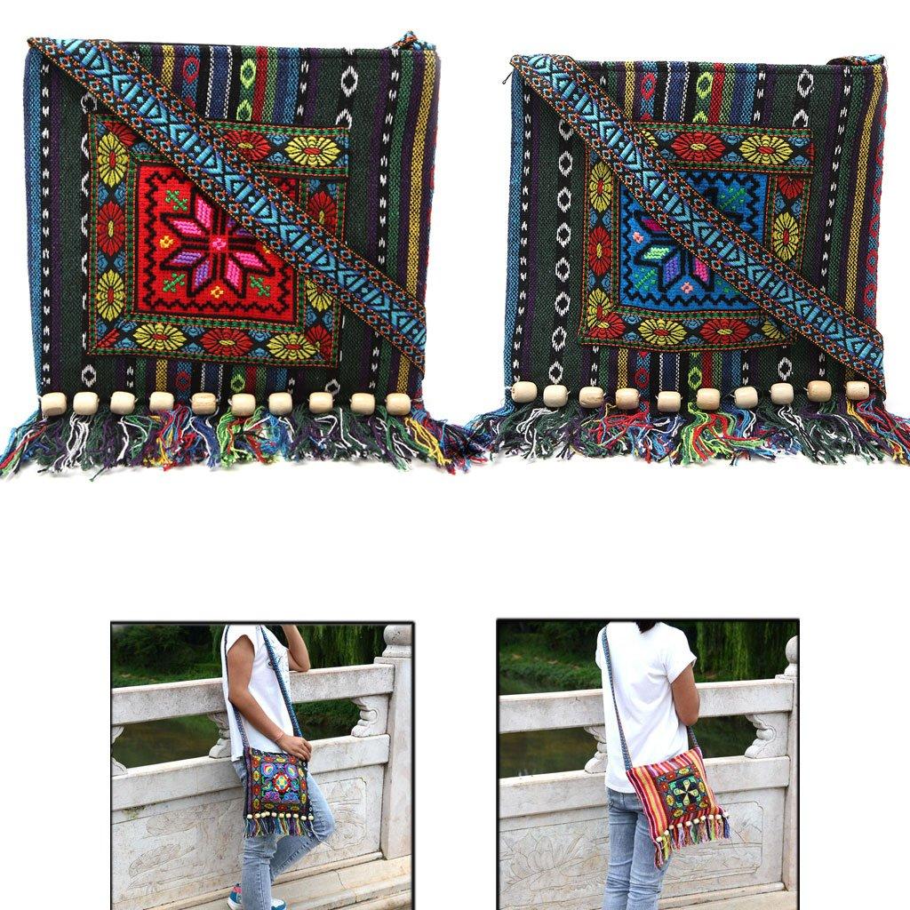 BouT 1/pcs Unique Vintage Ethnique Sac /à bandouli/ère Broderie Boho Hippie Tassel Tote Messenger Red