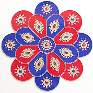 Ethnic Avenue Mandala Rangoli Diwali Wall/Floor Decor - 17 Piece Acrylic Home Decoration Accents - 100% Handmade