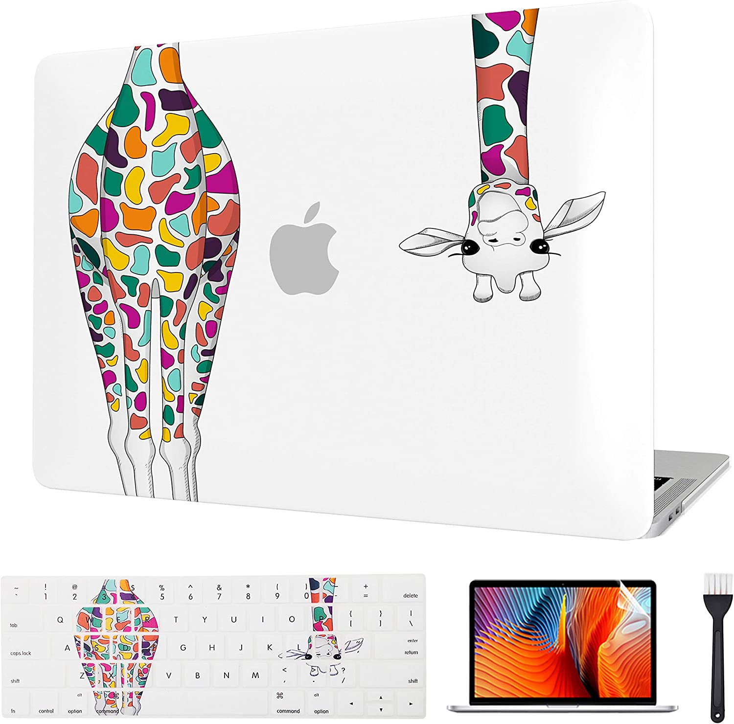 Laptop Case MacBook Case Hard Shell Cover & Keyboard Cover & Screen Protector Only Compatible Old MacBook Pro 15 Inch CD-ROM (Model: A1286, Release 2008-2012) (Colorful Giraffe)