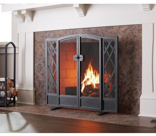 Fireplace Screen Threshold Black Brass - Threshold™ : Target