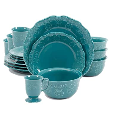 The Pioneer Woman Cowgirl Lace 16-Piece Dinnerware Set Bundle, Teal