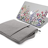 GMYLE 2 in 1 Bundle Springtime Floral Garden Soft-Touch Crystal Glossy Plastic Hard Case for MacBook Air 13 inch (Model: A1369/A1466) and Grey 13-13.3 inch Water Resistant Protective Laptop Bag Sleeve