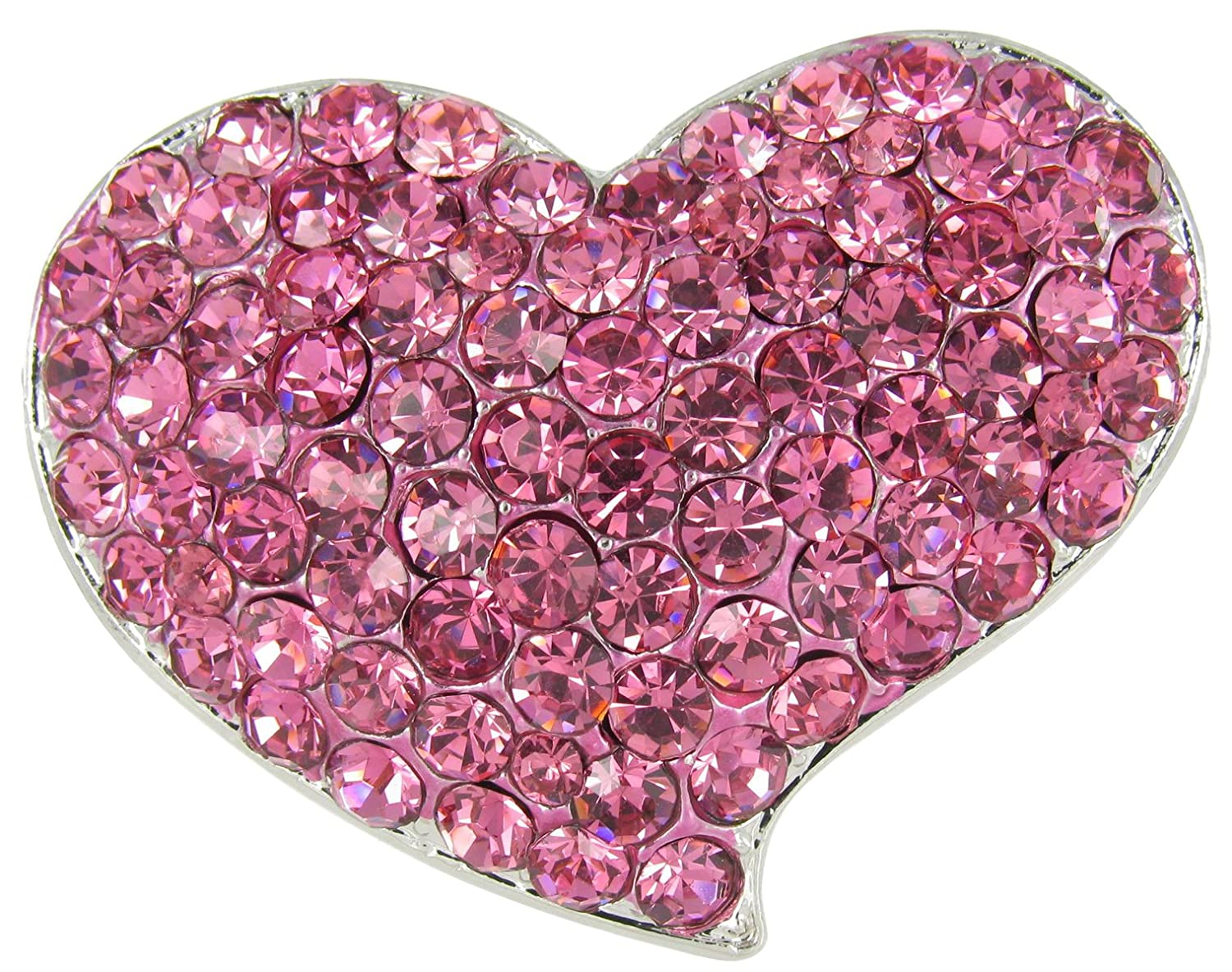 Be My Valentine Heart Bubble Rhinestone Brooch Pin with Hot Pink Crystals RUL 0097017DPK