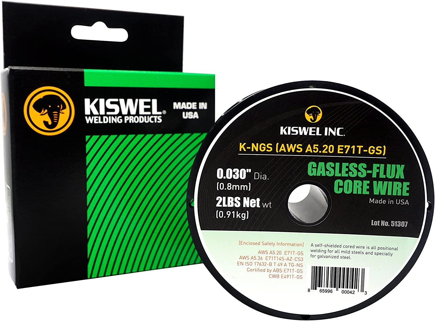 2lb Kiswel USA K-NGS E-71TGS 0.030in Made in USA Gasless-Flux Core Wire Welding wire Dia 2lb