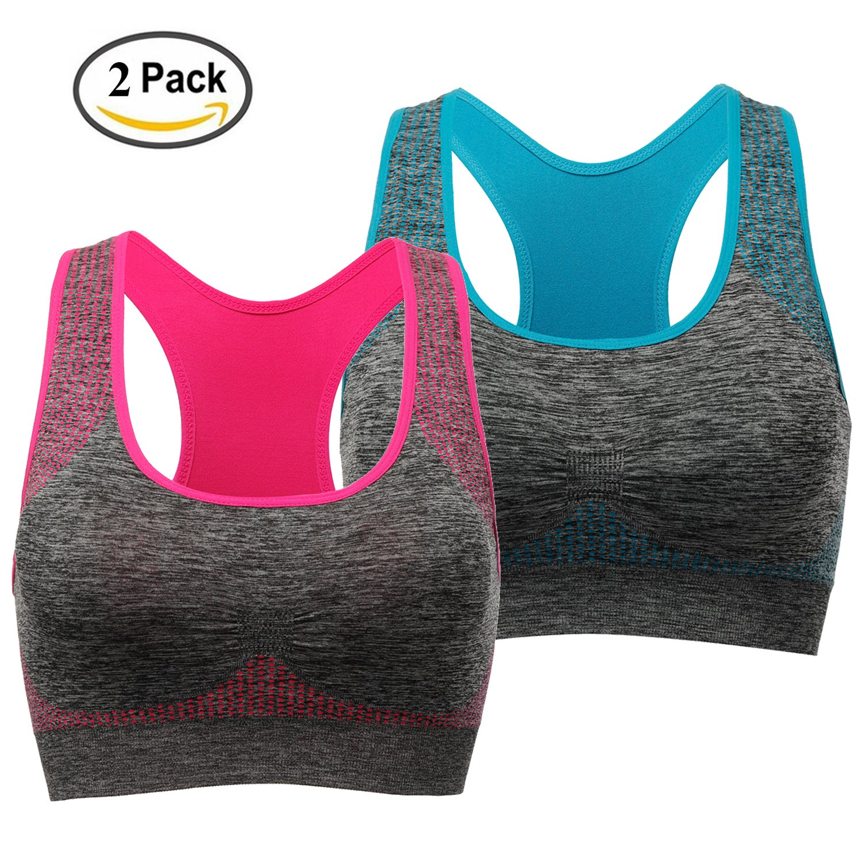 TOBWIZU Racerback Sports Bra - Choose Color & Size - Padded Seamless for Women Pocket Yoga Workout Gym Bras by TOBWIZU