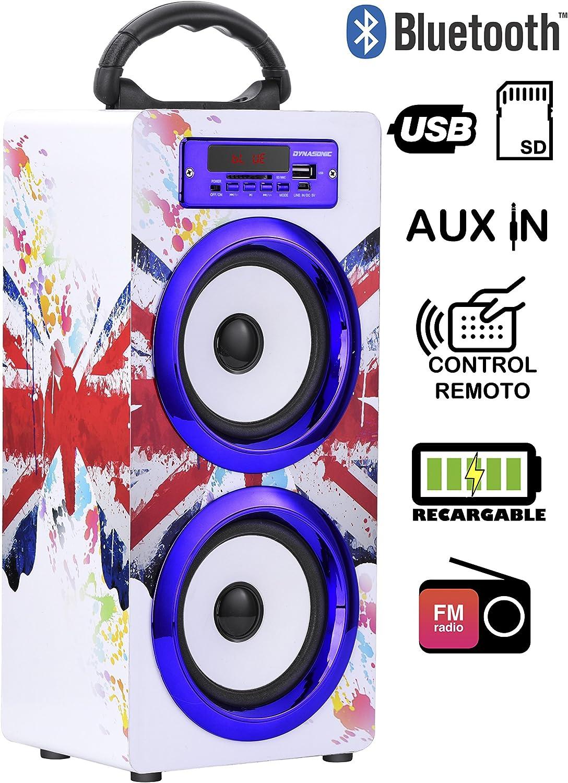 DYNASONIC - Altavoz Bluetooth Portatil 10W   Reproductor mp3 Inalámbrico Portátil, Lector USB SD, Radio FM - Modelo 020-2
