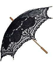 Coofit Ombrelle mariage en coton avec dentelles parasol parapluie décoration de mariage mariée parapluie Fait à la main (Noir 03)