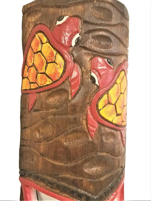 All Seas Imports 20 Tall Handcarved Wood Hawaiian Beach Luau Style Swimming Turtles Tiki Mask