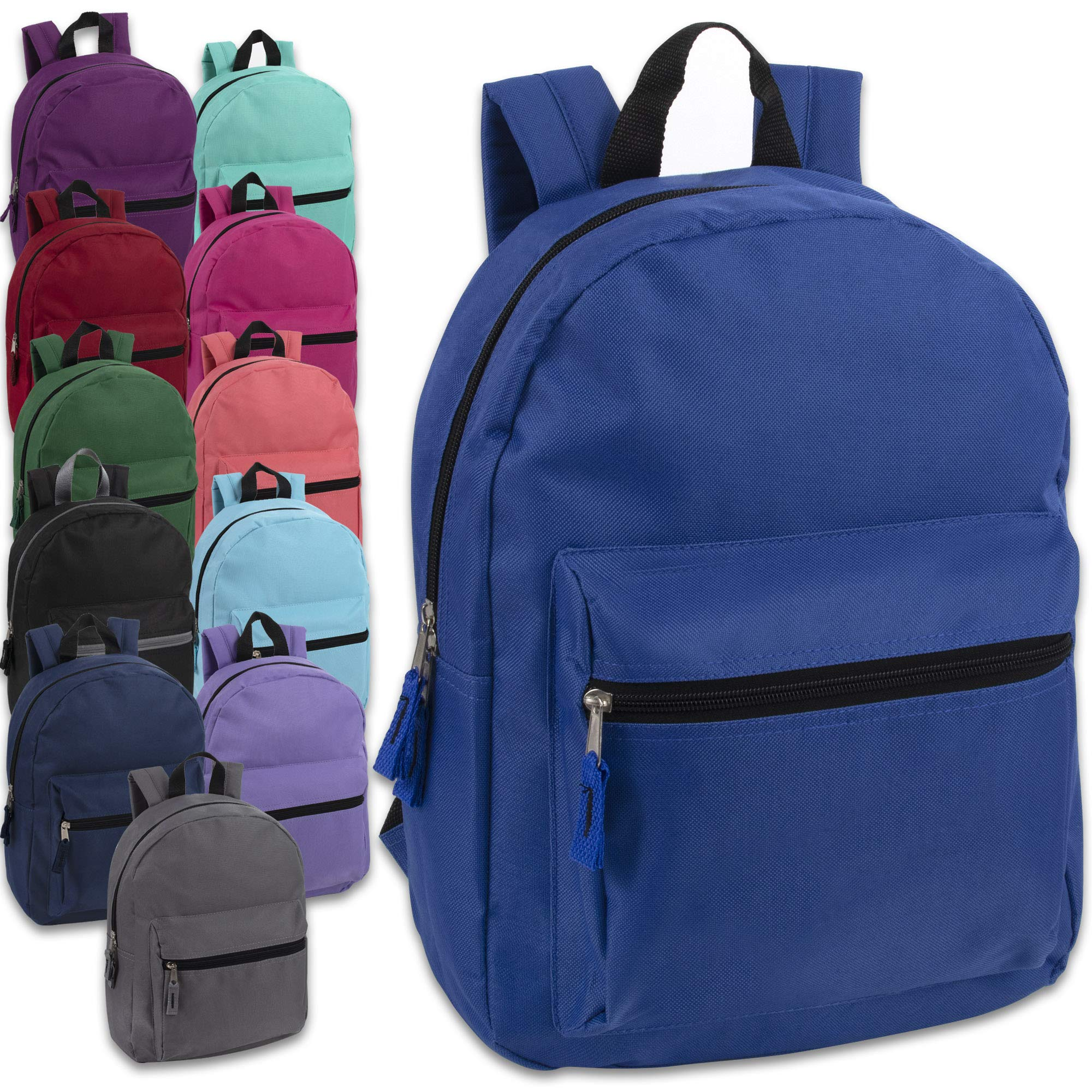 15 Inch Solid Backpacks For Kids With Padded Straps, Wholesale Bulk Case Pack Of 24 (12 Color Assortment) by Trail maker