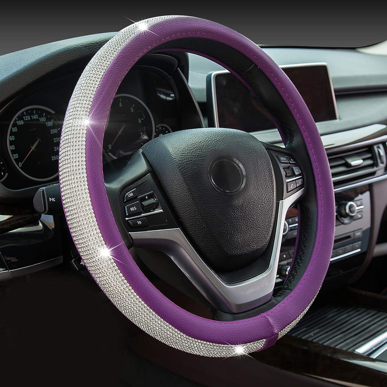 Black /& White PVC Leather Auto Steering Wheel Cover Audi BMW Luxury 38cm Slip-On