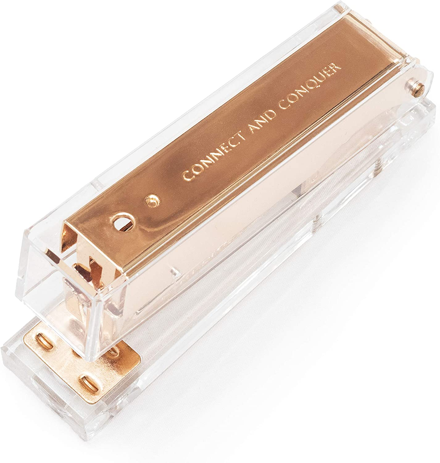 Mesmos Rose Gold Stapler Large, Engraved with 'Connect and Conquer'. Cute & Fancy Office Desk Supplies for Women. Pretty Cubicle Decor, Home Desk, Stationary Accessories and Aesthetic School Supplies