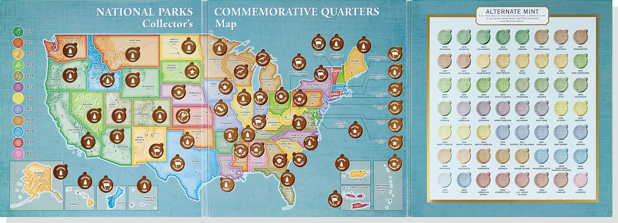 America The Beautiful National Parks Quarters Collectors Map - Us map for collecting quarters
