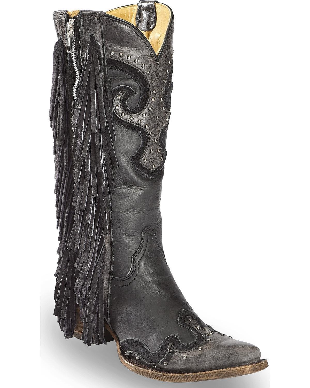 Corral Women's Studded Fringe Cowgirl Boot Snip Toe Black 7 M