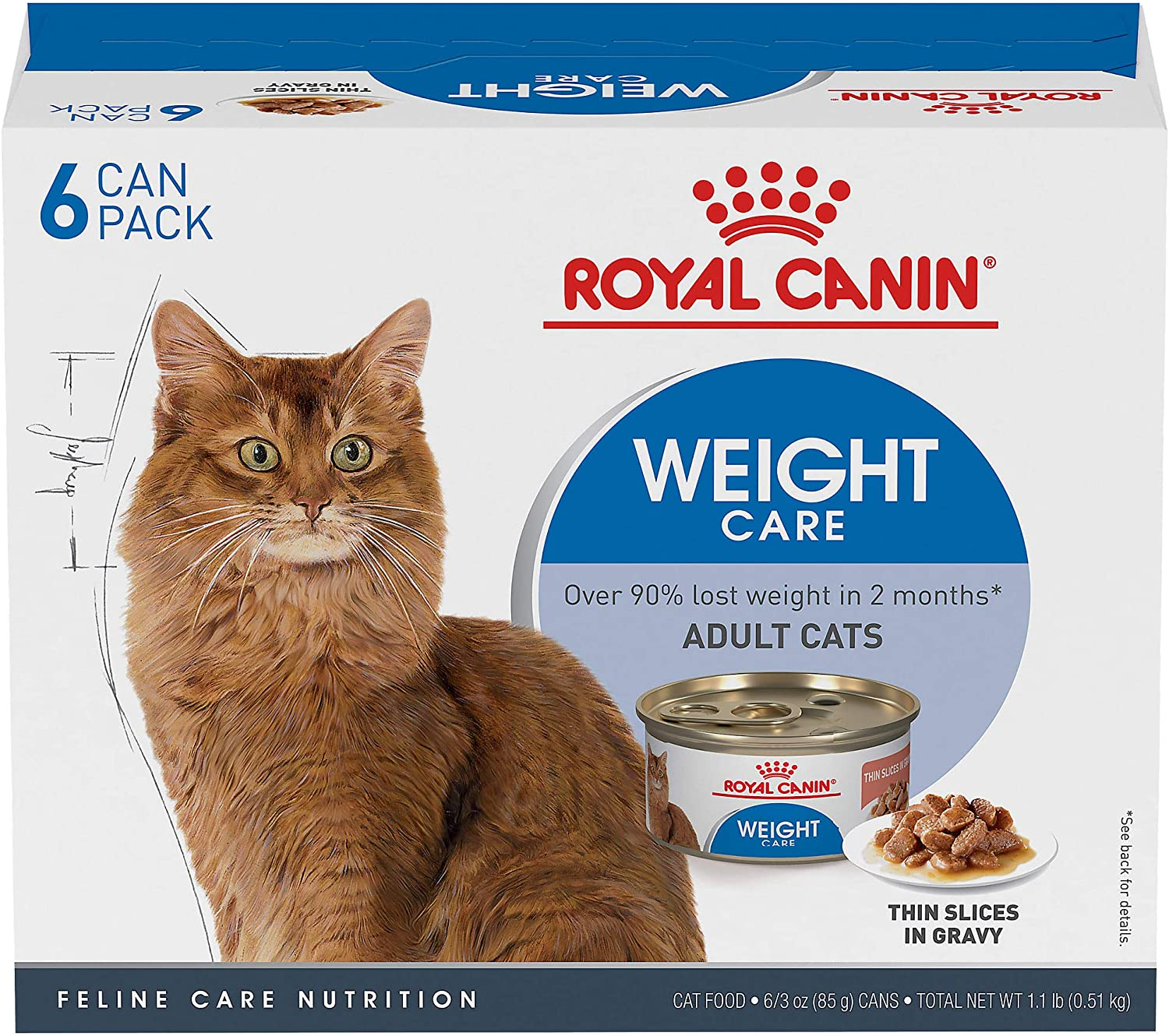 Royal Canin Feline Weight Care Thin Slices in Gravy Canned Adult Multipack Wet Cat Food, 3 oz., Count of 6, 6 CT