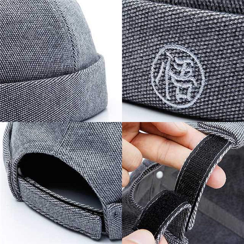 momoko hiroshi Hip Hop Beanie Hat Men Brimless Skull Cap Hook/&Loop Adjustable Embroidery Rolled Cap Warm Winter Hats