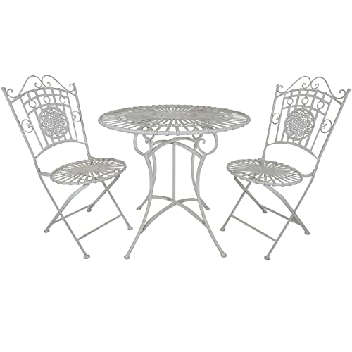 Titan 3 Piece Bistro Table Chair Dining Set Outdoor Patio White Antique Style