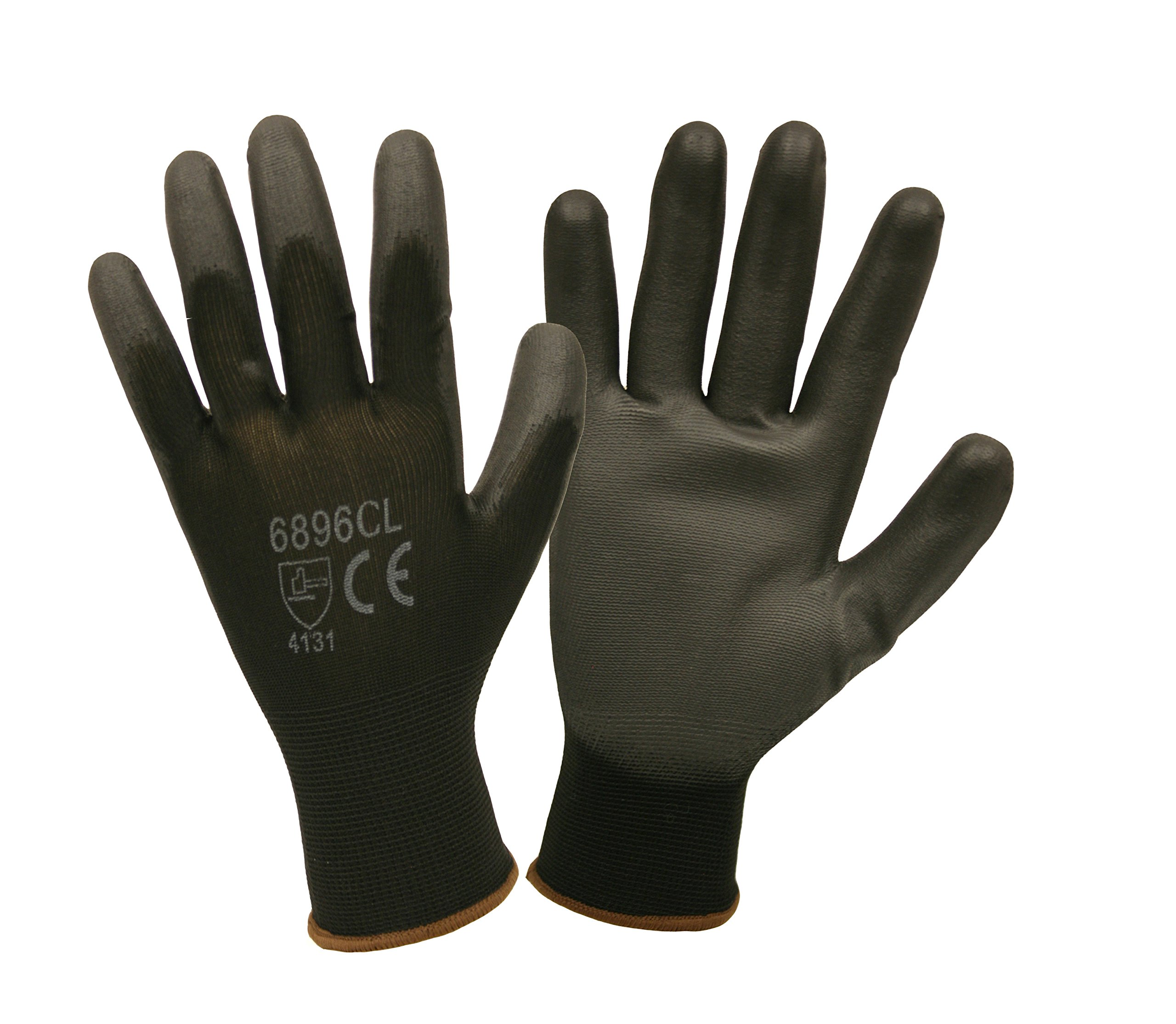 Black Nylon Work Gloves with Polyurethane Coating (Pack of 12)
