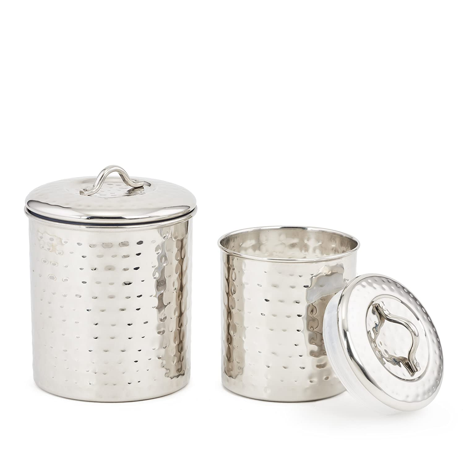 Old Dutch 946 Hammered Stainless Steel Pasta Canister, 12 H 12 H