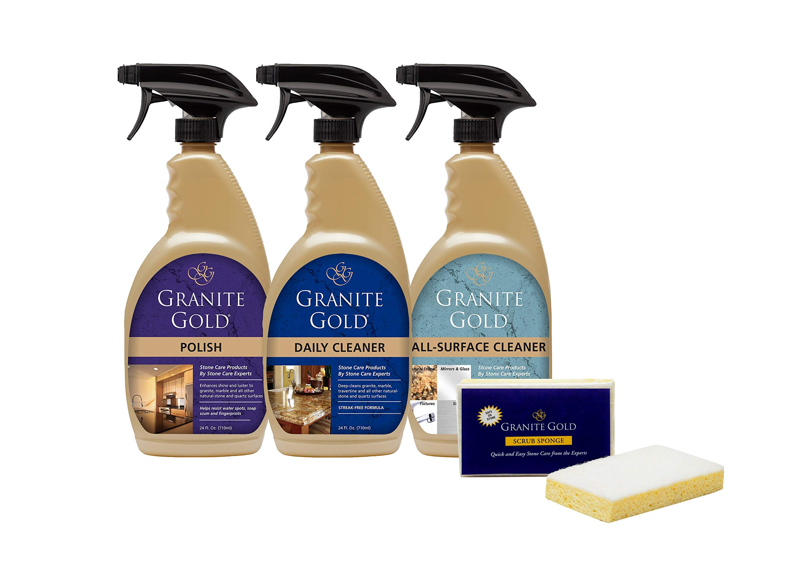 Granite Gold Home Care Collection - Natural Stone, Granite Cleaner, Polish And All-Surface Cleaner Combo Pack by Granite Gold