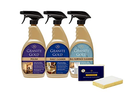 Granite Gold Home Care Collection - Natural Stone, Granite Cleaner, Polish  And All-Surface Cleaner Combo Pack