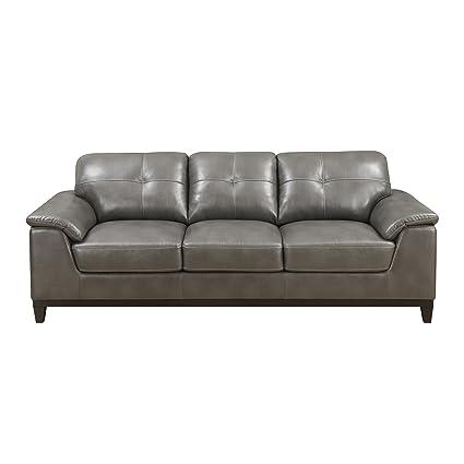 amazon com emerald home marquis gray sofa with faux leather rh amazon com