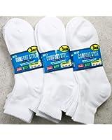 【メンズソックス】 足底パイル編み構造 無地ホワイトカラーの9足セット   通勤用   通学用   スクール用   靴下 メンズ 【ミドル丈ソックス】