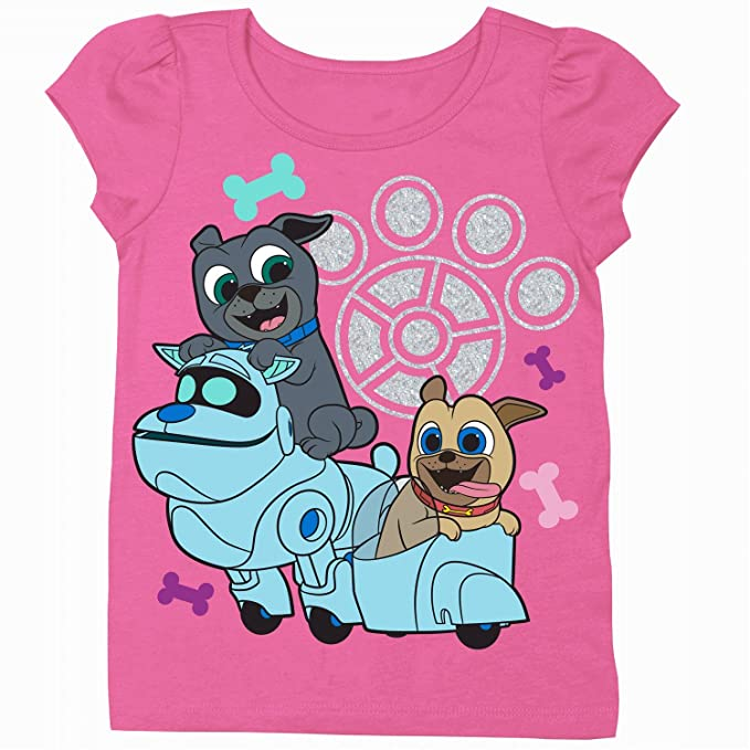 d13f7aa9d Disney Girls' Toddler Puppy Dog Pals Puff Short Sleeve T-Shirt, hot Pink